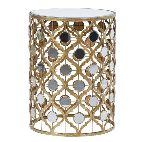 Gold trellis side table with mirror pieces 026