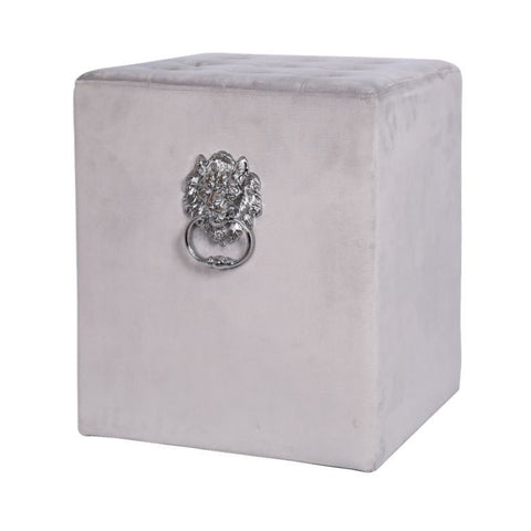 Grey footstool with lions head  and ring 45 cm