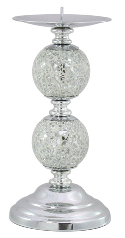 White  Silver  Mosaic  2 Ball Candle Holder 082