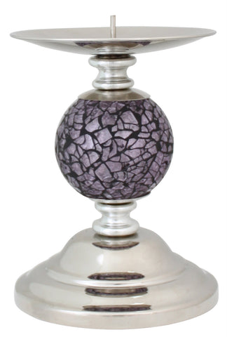 Violet Mosaic Ball Candle Holder