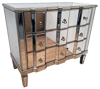 "Large Mirrored ""BIG CHEST""   3 drawer xtra -wide"