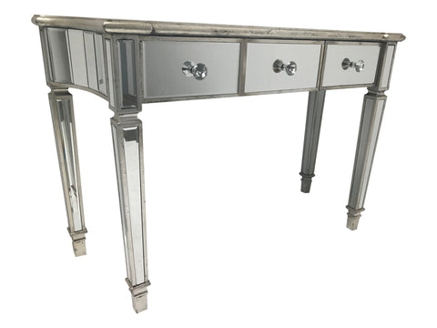 Mirrored Console large Table with 3 Drawers and  Silver Finish trim