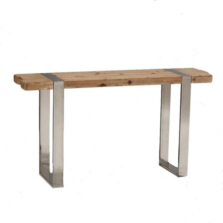 Hoxton wood and stainless steel console table