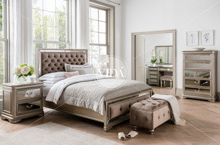 Jessie 6 ft bed in taupe velvet with tufted headboard . Super King