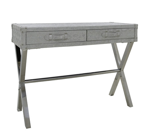 Antique Silver 2 Drawer Faux Snake Leather Console Table half price deal