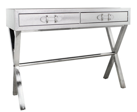 Silver 2 Drawer Faux Snake Leather Console Table half price deal