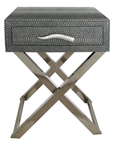 Faux snakeskin Side tables Grey with horn handle