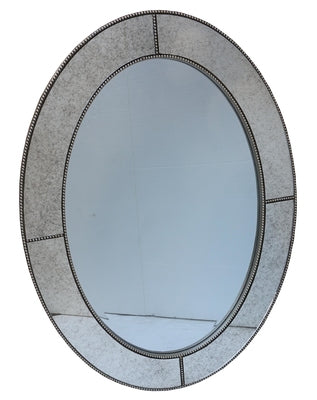 Oval Mirror with antiqued glass beaded  border
