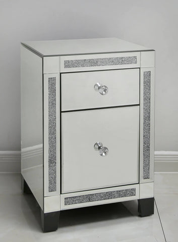 Fabiana Mirror and diamante  2 Drawer Bedside Cabinet VALUE ALERT !!
