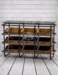 Industrial Metal And Wood 9 Drawer Wide Shelf Unit
