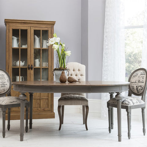 Maison Round extending table with grey  DISCOUNT PRICE