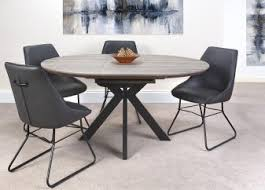 Manhattan round extending table grey top  120 Up to 160cm