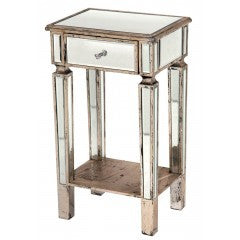 Antiqued Venetian Mirror Bedside   Table  with  1 drawer and  shelf