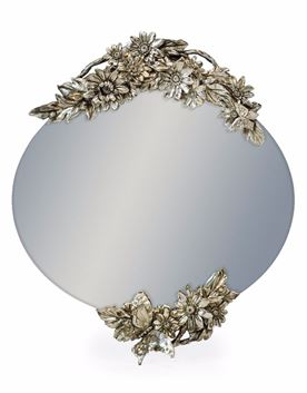 Oval frameless mirror with double butterfly  detail Reduced