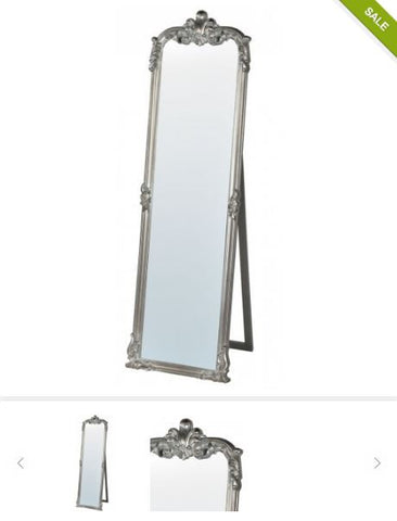 Rocaille freestanding Cheval mirror silver