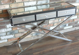 Console Table X Cross Leg  with 3 drawers
