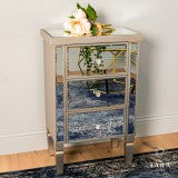 Rex 3 drawer mirrored bedside locker straight leg