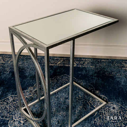 Freddie sofa table mirrored top silver or gold