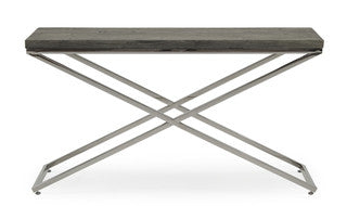 Tephra driftwood and chrome console  table