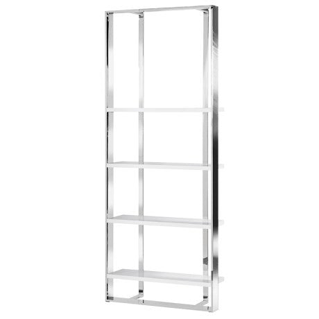Chrome and white tall Shelf unit vza