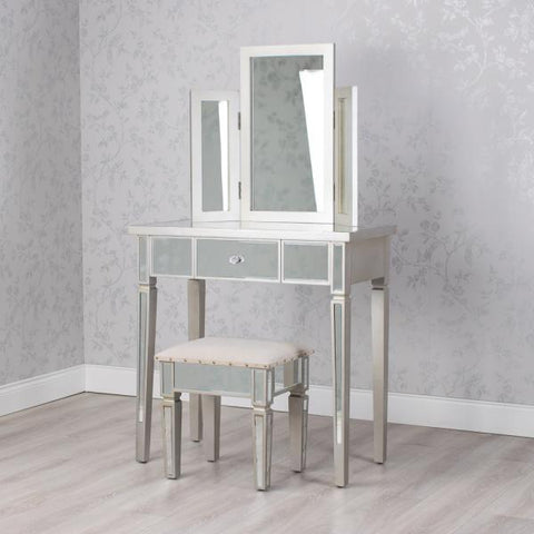 Mirrored dressing table with mirror and stool  Click N Collect
