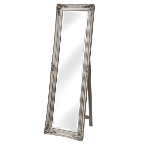French  Chateau silver  cheval mirror with stand 160 x 40 cm Click N Collect
