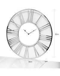 Large  Round  Chrome Wall Clock Click N collect