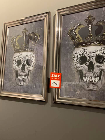 Skull with crown framed picture