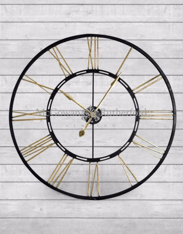 SKELETON LARGE BLACK AND GOLD IRON CLOCK 102cm click n collect 2