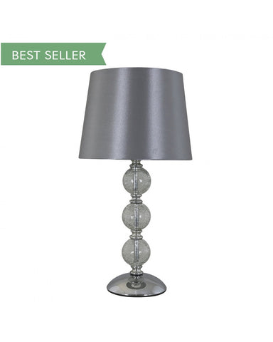 Value Clear Cracked Glass Silver 3 Ball Table Lamp
