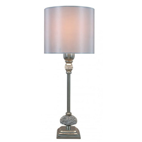 Small Nickel Diamante Candlestick Table Lamp With Silver  Velvet Shade