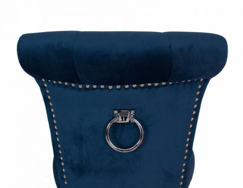 Velvet bar stool with knocker back  Midnight Blue sold as seen