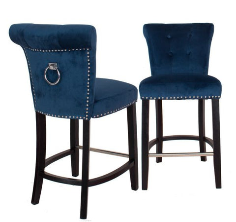 Mc Guigan Velvet bar chairs / stools with knocker back and stud detail BLACK