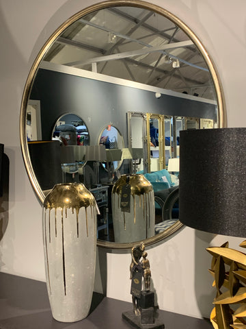 Gold B2 Round mirror distressed finish   Click N Collect