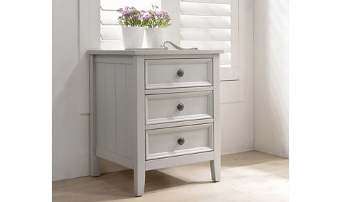 Milan 3 drawer bedside cabinet in clay grey colour .