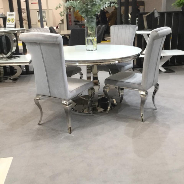 Athena Round Glass Dining Table With Choice Of 4 Chairs Wow Interiors