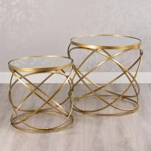 Scrolls Spirals large nest of side tables gold Click & Collect ONLY