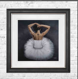 Dancing Ballerina pictured framed in 75 x 75 cm  with Vegas Scoop frame tbc