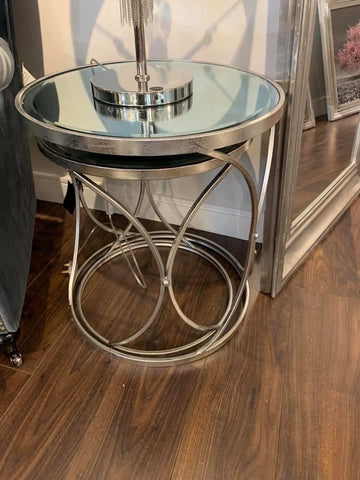 Nest of 2 silver foil round side  tables Last set SOLD AS SEEN .Click and Collect