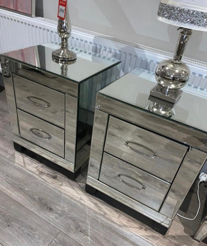 Cosmopolitan mirrored glass bedside cabinet