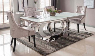 Ollie white glass dining table