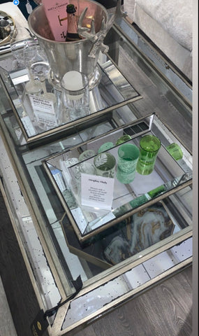 Astoria mirrored trays with antiqued appearance