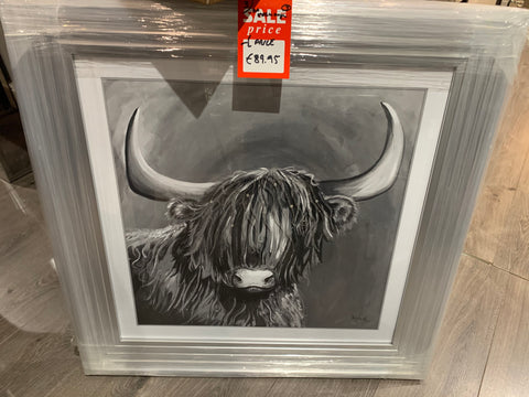 Large framed picture . Highland Cow  75 cm reduced to clear  HALF PRICE