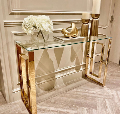 Alannah gold console table  with glass top 120 cm