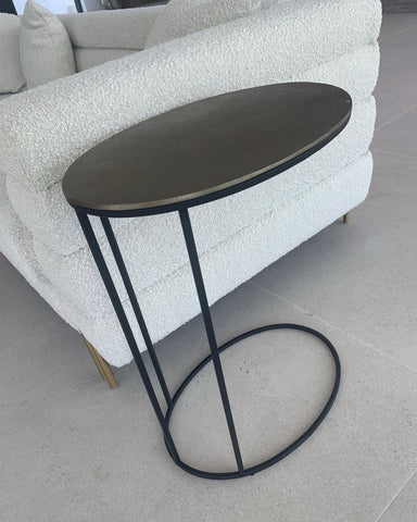 Peru side  sofa drinks table black frame  with brass bronze  top. 1 table