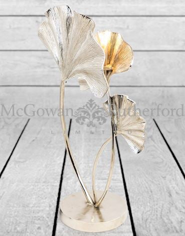Large Nickel Plated Aluminium Ginko Leaf Table Lamp