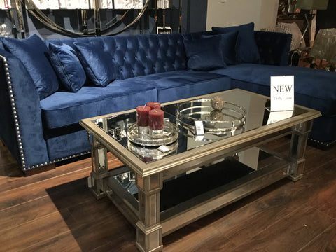 Fabulous mirrored with champagne trim coffee table with shelf  130 cm
