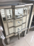 3 drawer luxury mirrored cabinet with antiqued silver trim