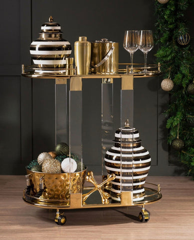 Gold and acrylic drinks trolley