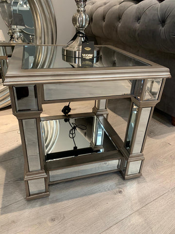 Metro Side table with champagne trim and glass top